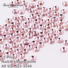 SS3-SS34 Pink Color Nail Art Glass Rhinestones Flatback Non HotFix Glue On Rhinestone For Nails DIY