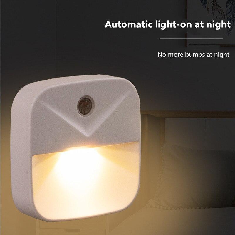 EU US Plug Light Sensor Control Night Light Mini Novelty Square Bedroom lamp For Baby Gift Romantic Lights