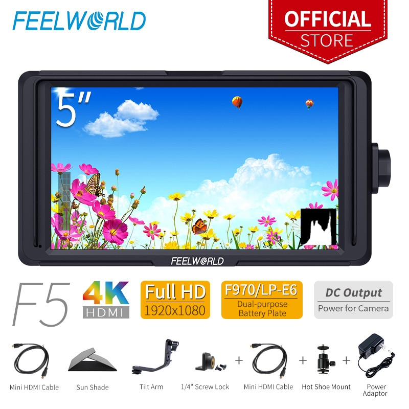 Feel world F5 5 بوصة DSLR على كاميرا جهاز المراقبة الميدانية الصغيرة كامل HD 1920x1080 IPS الفيديو التركيز مع 4K HDMI تيار مستمر الناتج إمالة الذراع