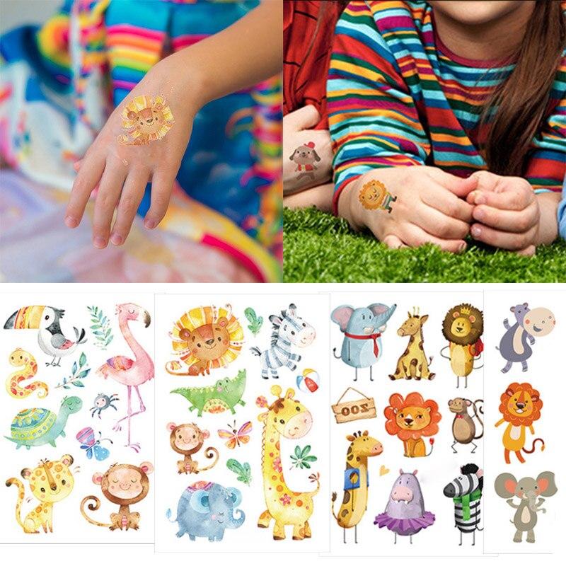 Джунгли Вечеринка Временные татуировки животных водонепроницаемый стикер татуировки сафари Вечеринка зоопарк Декор дети день рождения партии сувениры татуировки стикер