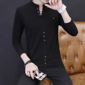 Long-sleeved T-shirt Men's Spring Dress New Fashion Pure Cotton Bottom Shirt Spring Men's Long-sleeved Dresses Men's Dresses