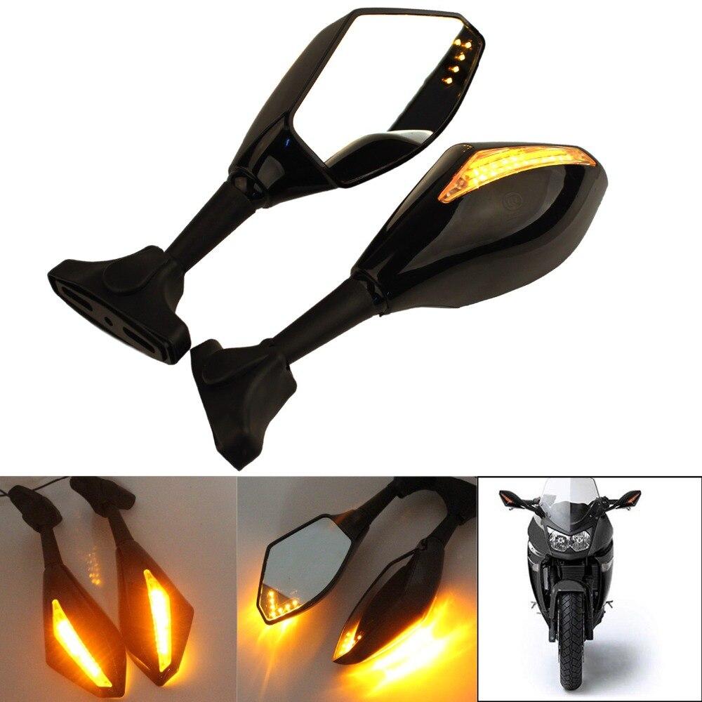 اكسسوارات سوداء للدراجات النارية LED بدوره إشارات الرؤية الخلفية الرياضة الدراجة المرايا لهوندا CBR 600 F4i 929 954 RR F1 F2 إعصار
