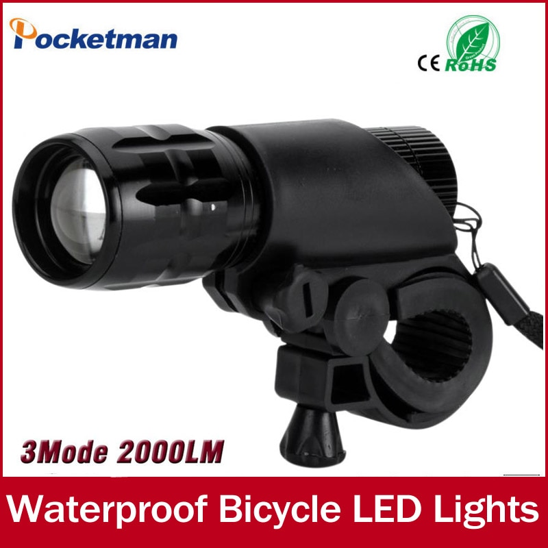 Q5 LED 2000lm aluminio resistente al Agua AAA batería con soporte frontal bicicleta luces linterna