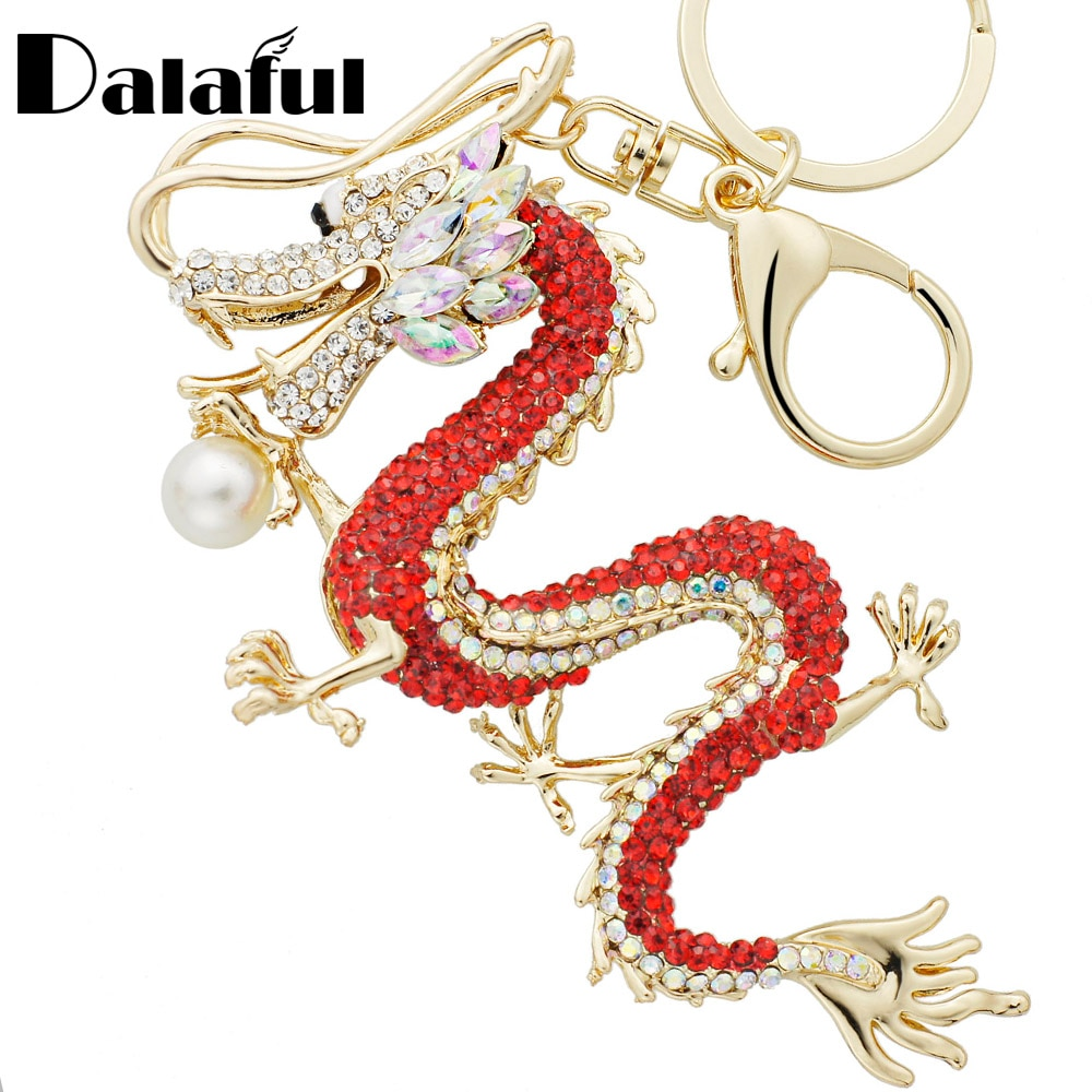 Dalaful Rhinestone Dragon Key Rings Chains Holder Simulated Pearl Crystal Animal Keychains For Car Keyrings Bag Charms K341D