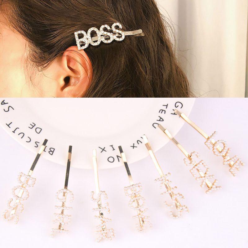 7 unids/set minimalista imitación horquilla con perlas mujeres boda palabra graciosa letra mayúscula pinza de peinado Metal aleación decorativa Barrette