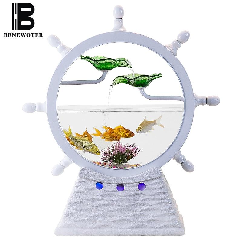 Fonte de Água Criativo Boutique Cerâmica Fluindo Tanque Peixes Escritório Sala Estar Desktop Umidificador Presentes Negócio Sorte 110 v – 220