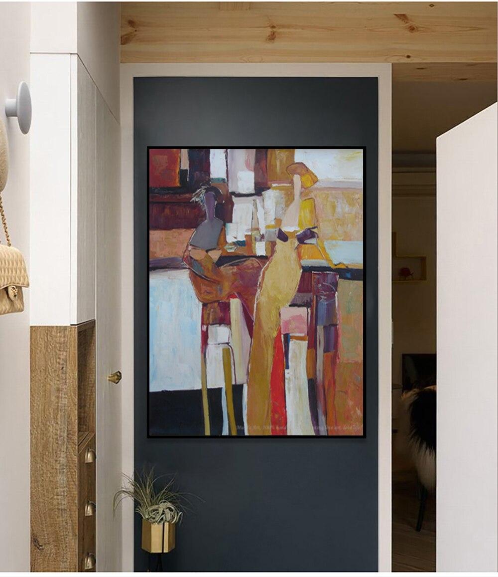 Muya-pintura mural abstracta de pared para dormitorio y sala de estar, pinturas...
