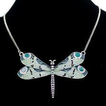 Collier pendentif bijoux fait à la main, émail de libelette verte celtique victorienne en émail aile Art Nouveau collier avec pendentif
