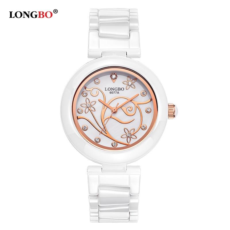 Relojes de diseño para mujer, reloj de lujo, marca LONGBO 2016, reloj de cuarzo de cerámica resistente al agua elegante para mujer, reloj kol saat