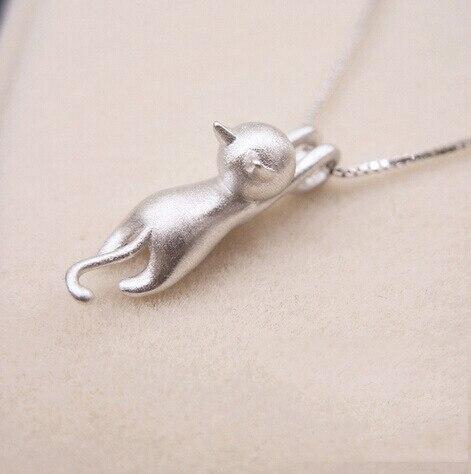 Collares y colgantes de gato, Color Plata, joyería, Collar de Plata