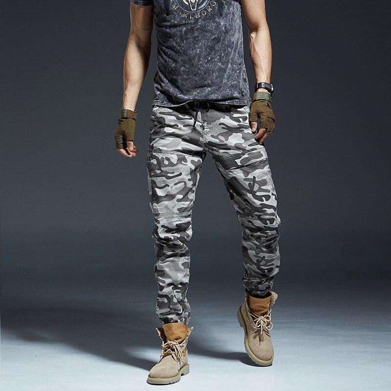 Брюки-карго мужские Стрейчевые прямые камуфляжные с поясом на резинке
