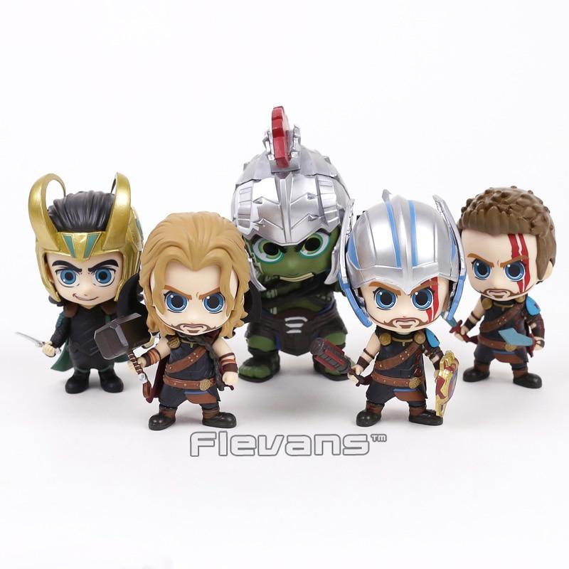 Thor 3 Ragnarok Thor Loki gladiador Hulk Bobble cabeza muñeca PVC figura coche decoración juguete 5 estilos