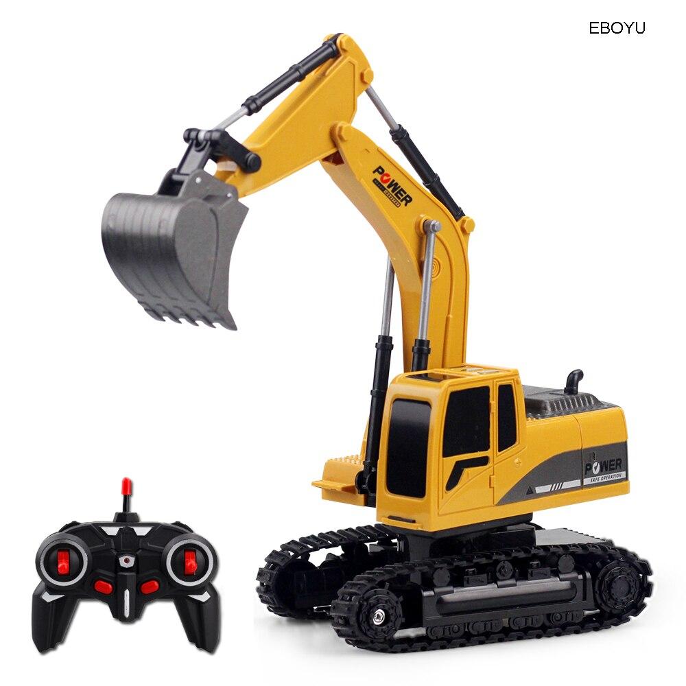 Eboyu 258-1 2.4 ghz 6ch 1:24 rc escavadeira mini caminhão rc recarregável simulado escavadeira presente brinquedo para crianças