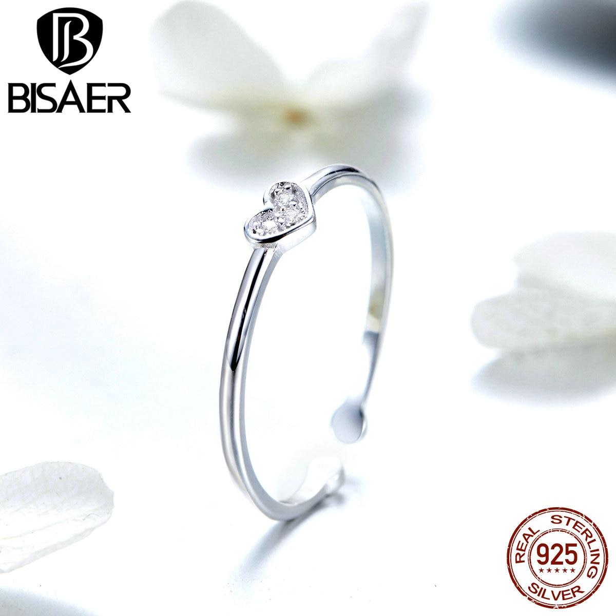 Gran oferta BISAER, anillo de Plata de Ley 925 con forma de corazón y circonita cúbica transparente, anillos ajustables para anillo de mujer, joyería ECR491