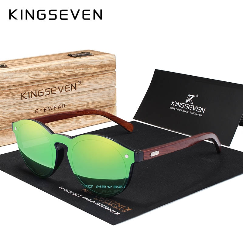 KINGSEVEN DESIGN 2018 Wooden Sunglasses For Men/Women High Quality Mirror Lens UV400 Classic Sun Gla