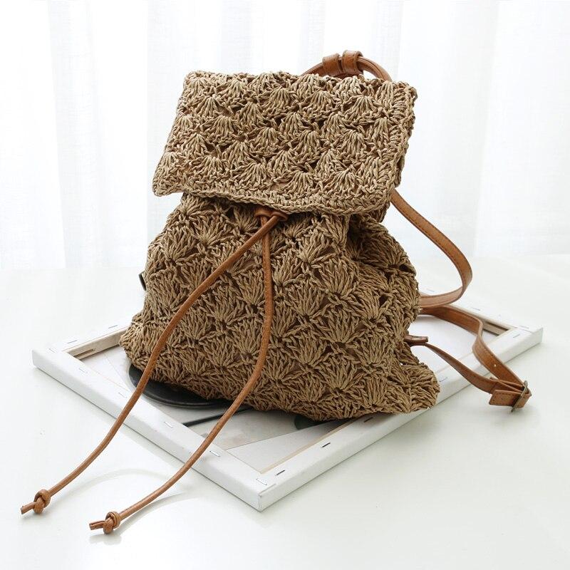 2019 saco de ombro de couro de praia de verão sacos de escola para meninas mochilas de palha de designer de rattan oco