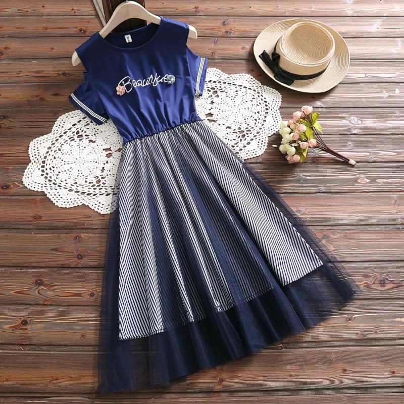 Mori girl lindo vestido de malla a rayas nueva moda de verano de manga corta casual dulce vestido