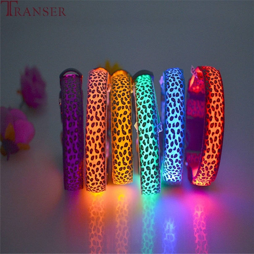 Transer Pet Supply Adjustable Leopard Print Lighting Glow in Dark LED Cat Dog Collar 80329