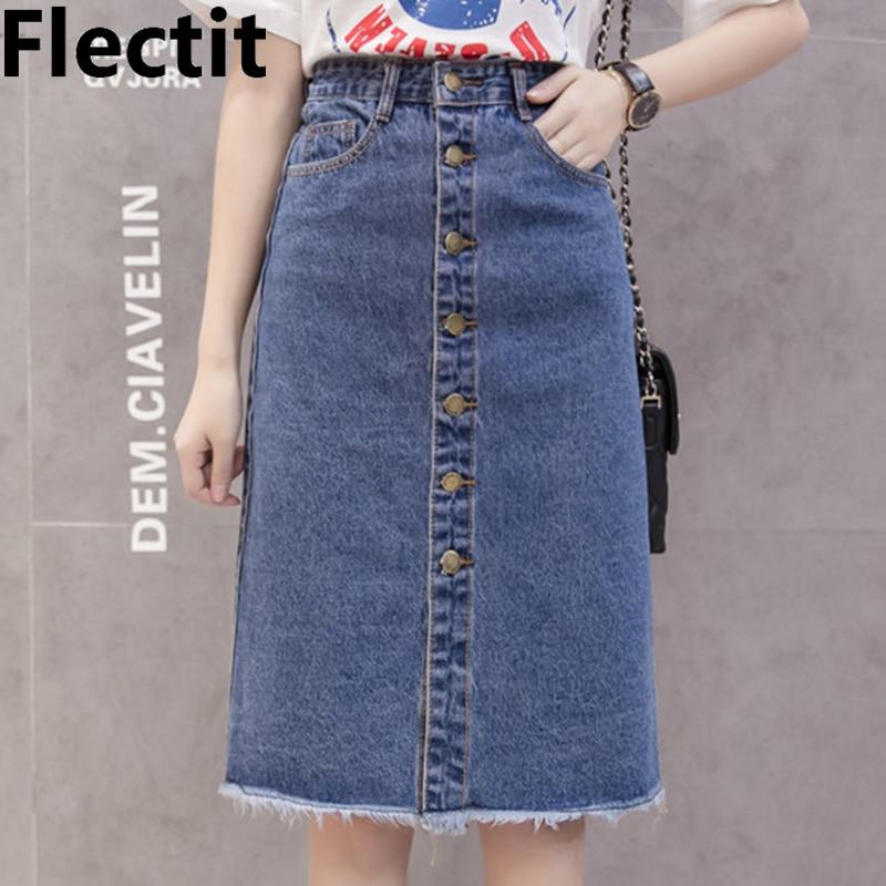 Flectit 2019 botón frente Falda Midi vaquera para las mujeres Casual alta cintura Fray Hem con bolsillo rodilla longitud Jeans falda femenina *