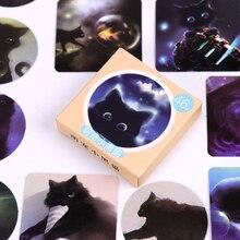 46 unids/pack cielo estrellado gatos negros hojas para diario pegatinas Kawaii planificador Scrapbooking Sticky material de papelería escolar suministros escolares