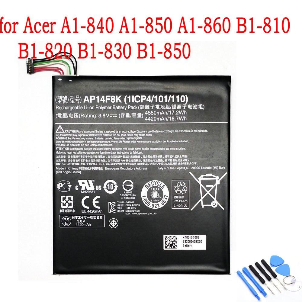100% Original nuevo 4550mAh AP14F8K de batería para Acer A1-840 A1-850 A1-860 B1-810 B1-820 B1-830 B1-850 WiFi 16GB