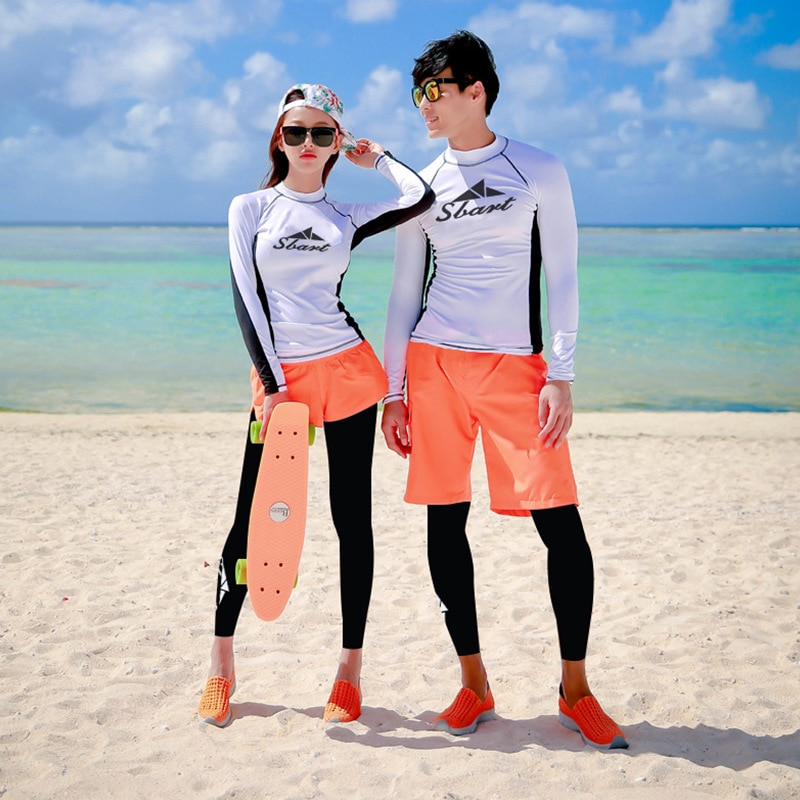 4 Pcs Womens Rashguards set Swimsuit with Compression Pants, Bra Long Sleeve Shirts and Loose Fitting Shorts Rash Guards Mens