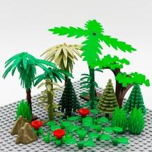 Tree City Accessories Building Blocks Figure Accessory Military Grass Flower Leaf Bush DIY MOC Brick Education Toys For Children