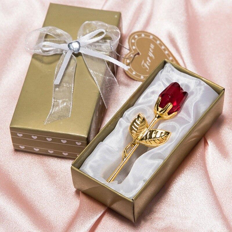 Regalo de Cumpleaños vara de plata Rosa Flor de cristal Rosa Europea creativa boda regalo hogar jardín suministros festivos fiesta