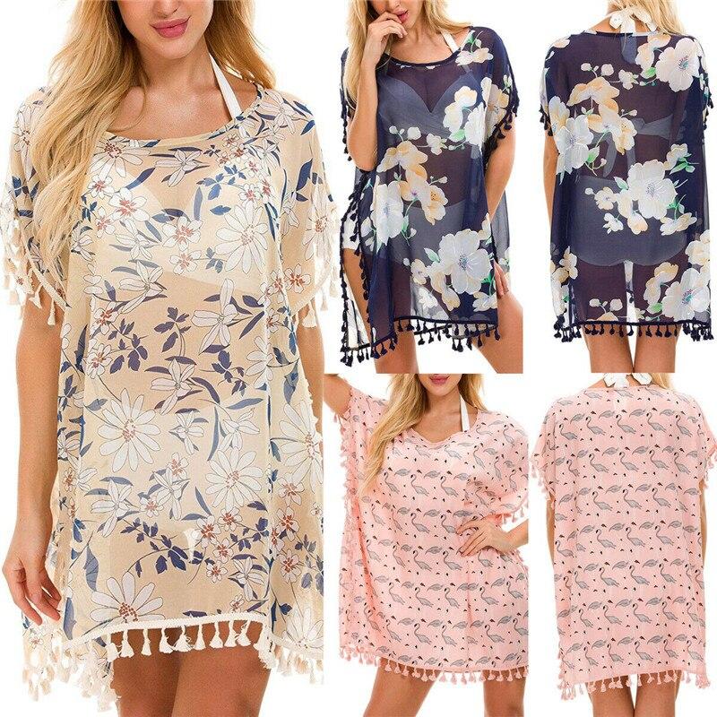 Mode décontracté ample imprimé femmes flamant rose Blouse haut plage couvrir fleuri Kimono Cardigan manteau chemise pull vêtements