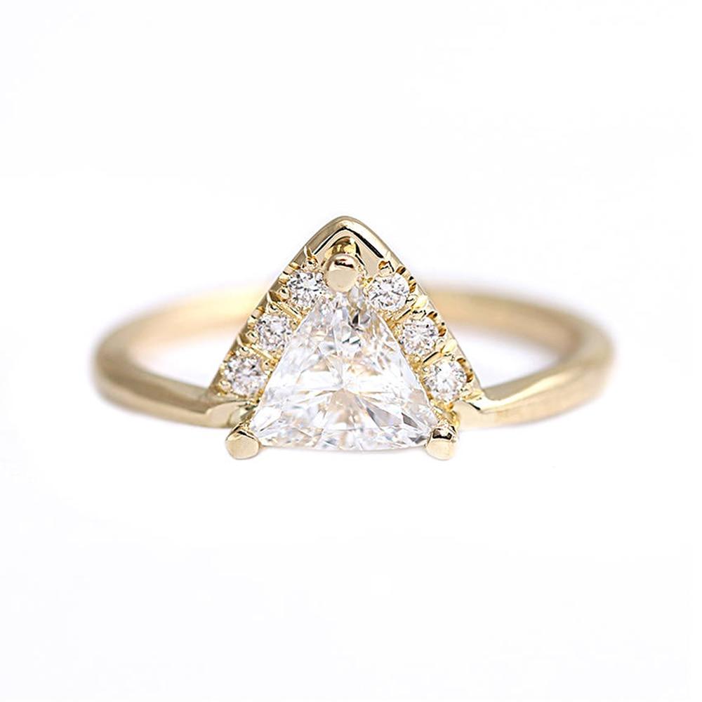 تريليون قطع و جولة المويسانتي 0.5ctw مختبر الماس سوليتير الزفاف خاتم الخطوبة الصلبة 14K الذهب الأصفر للنساء