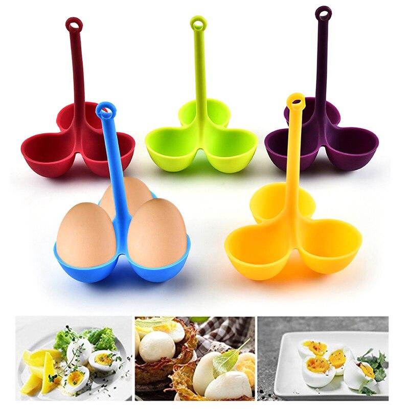Hervidor de huevos de silicona, portátil, Bandeja para Huevos, bandeja para huevos, utensilios de cocina, estante para huevos, aislamiento antiquemaduras, herramientas veganas para el desayuno