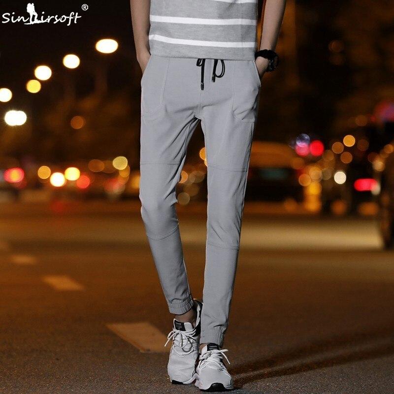 Harlan pantalones pitillo Casual Skinny cordón en la cintura pantalones de verano a la altura del tobillo para hombre transpirable ropa de calle Nueva