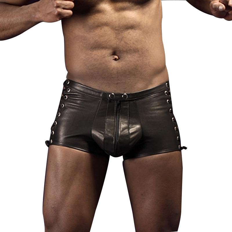 Faux Leather Mens Exotic Apparel Men Boxers Shorts Trunks Lace Up Underwear Lingerie Black Pants Super Sexy Wetlook Boxer