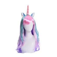 Cartoon Unicorn Cosplay Wigs Women hair Girls Cosplay Wig Halloween Carnival Party Cosplay Wig
