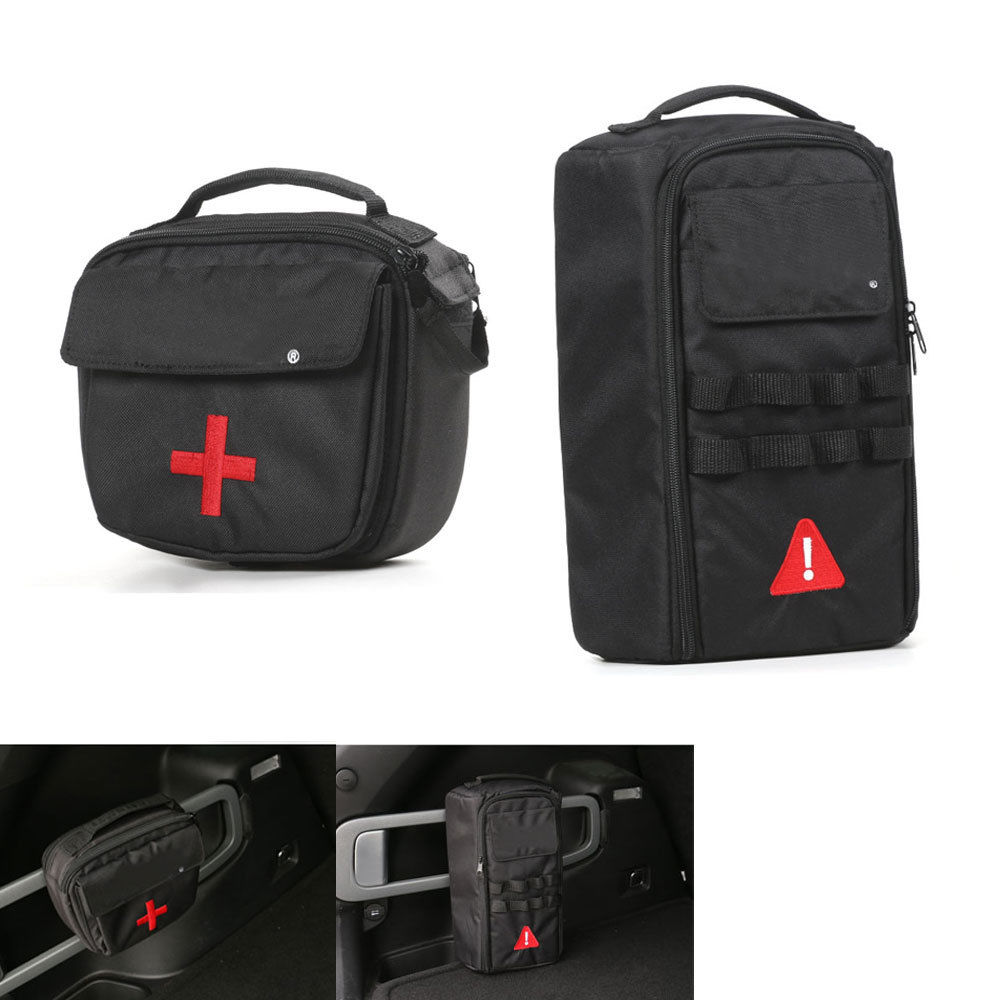 2 unids/set de botiquín de primeros auxilios para coche, bolsa + Kit de herramientas, estuche para Cherokee 2014-2016, accesorios para coche, bolsillo de estilo de coche