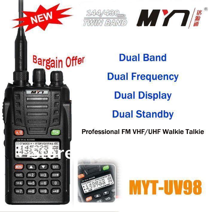 Frete grátis baratos de venda quente de banda dupla VHF 136 - 174 MHz e UHF 400 - 470 MHz MYT-UV98 portátil Ham rádio em dois sentidos
