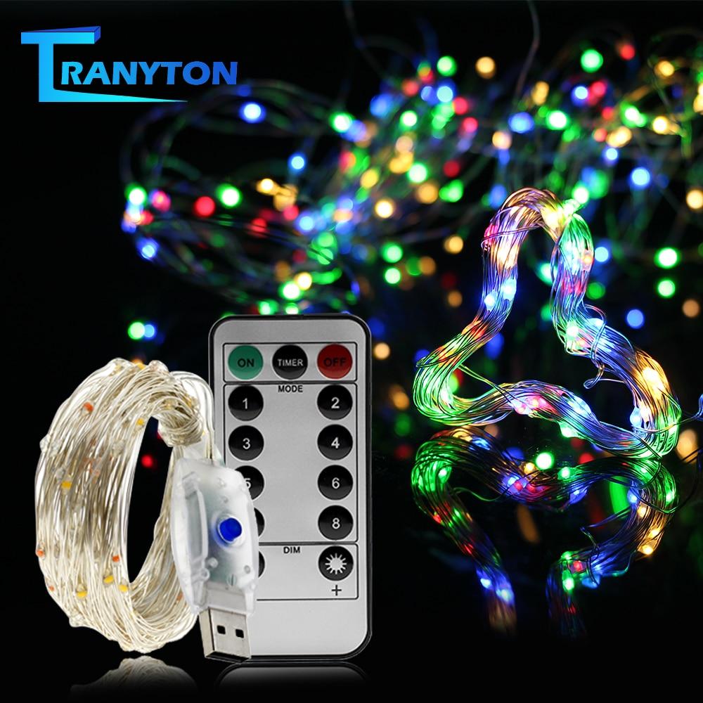 USB СВЕТОДИОДНЫЙ светильник-гирлянда s, цветная Новогодняя гирлянда, медная проволока, сказочный светильник для внутреннего, наружного, свад...