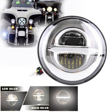 Free shipping Chrome motorcycle led headlight 7 inch High/Low Beam for Honda CB400 CB500 CB1300 Headlamp
