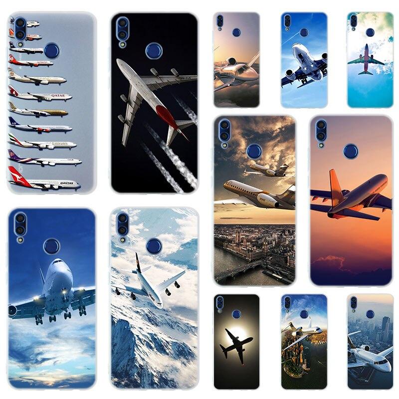 Avião avião voar viagem nuvem céu tpu macio caso capa para huawei honor 20 10i 9 lite 6x 7x 8x max 7a 8a 9a v20 play 9i
