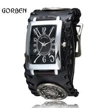 Rétro gothique Rock Style Punk montre-Bracelet hommes en cuir noir loup Bracelet Quartz hommes montre cadeaux Relogio Masculino