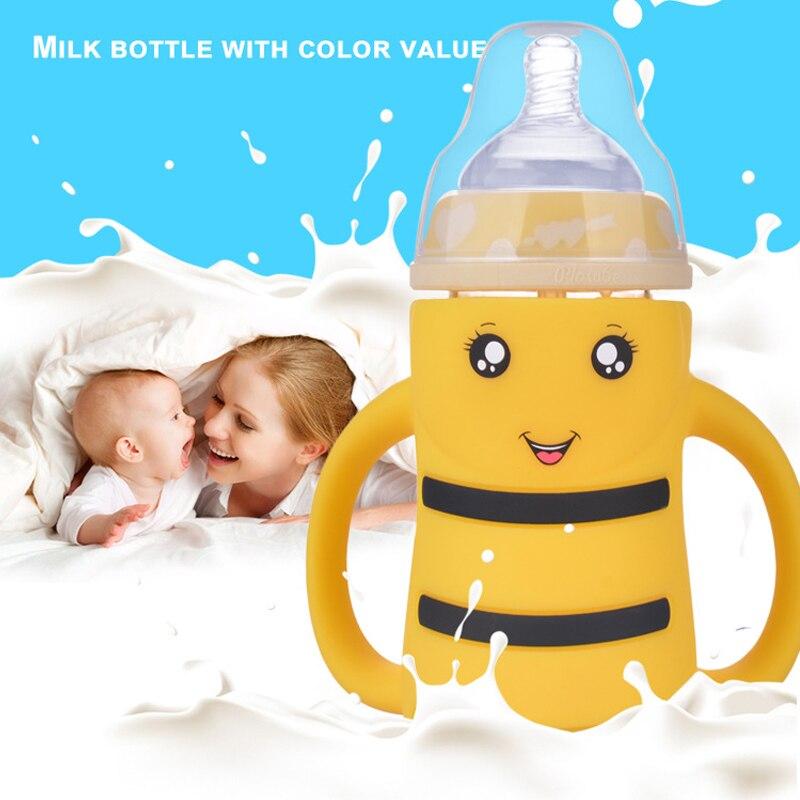 Biberón para niños, bonito biberón con asa para agua potable para bebés, biberón a rayas de boca ancha, tazas de entrenamiento para niños