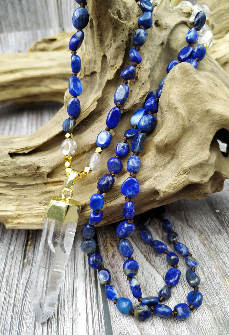YA3867 Natural áspero cuarzo Punto oro colgante lapislázuli cuentas de fichas de piedra nudo hecho a mano collar