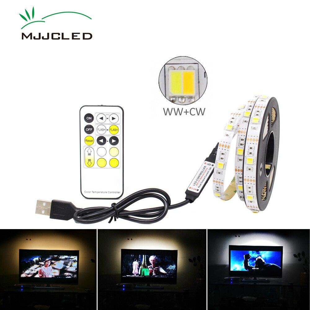Tira LED CCT 5V USB regulable 5050 tiras LED CW WW RF controlador remoto ajustable tira de LED cinta USB retroiluminación TV