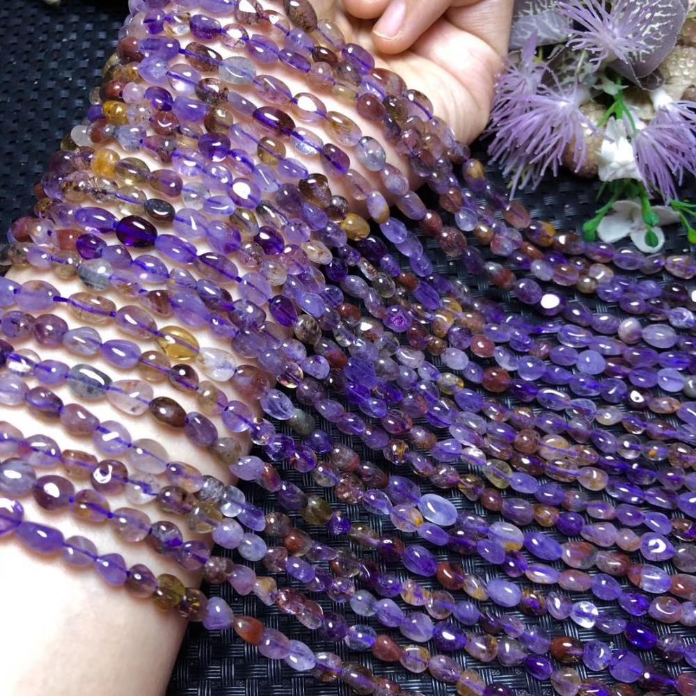 Grânulos de pedra natural irregular auralite colorido 23 grânulos de pedra de cristal para fazer jóias diy pulseira colar 15 polegadas