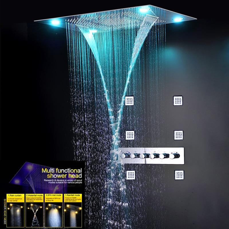 مجموعة خلاط دش ثرموستاتي فاخر ، لوحة حمام كبيرة مخفية ، تأثير هطول الأمطار ، شلال ، تدليك ، 5 اتجاهات ، LED