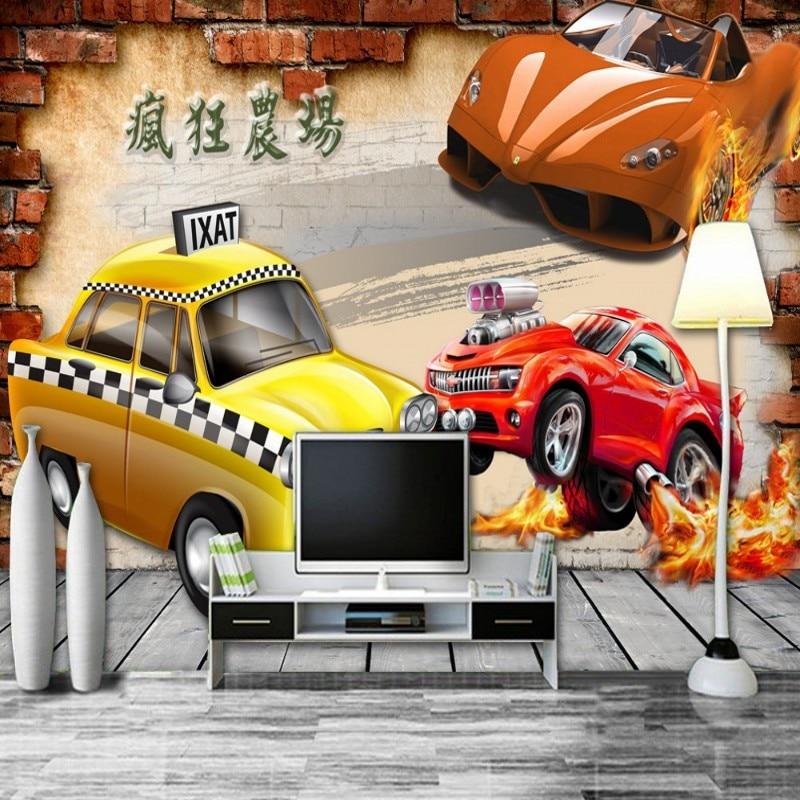 Dropship Colomac 3d Papel De Parede De Tijolos Louco Carro Fazenda Estourando Papier Peint Mural parede do Quarto Papel de Parede Papéis De Parede Decoração Da Sua Casa
