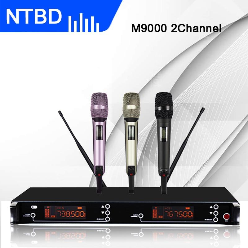 NTBD المرحلة الأداء الكنيسة كاريوكي حزب M9000 UHF المهنية المزدوج ميكروفون لاسلكي نظام 2 يده 2 قناة