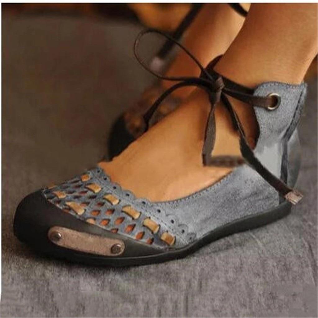 Mokingtop 2019, sandalias clásicas de verano con tira de tobillo informal y punta redonda para mujer, sandalias de sandales ouvert #4