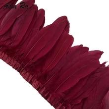 Garniture plumes doie bordeaux 10 fils   Ruban en plumes doie colorées, décoration bricolage de mariage, 15 ~ 20 cm