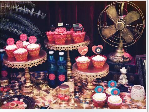 9pcs/lot Wedding Gold cake display metal cake stand cupcake display Birthday dessert Stand Party decoration